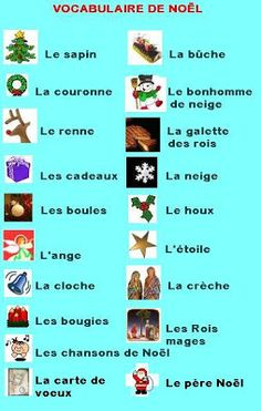 vocabulary for Noël French Phrases, French Words, French Teacher, Teaching French, Learn To Speak French, Core French, French Christmas, French Classroom, French Resources