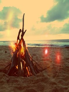 The crackle of the fire and the sound of the sea.
