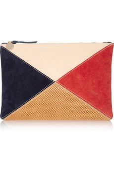 cd4c9e4b79 Clare V. - Color-block leather and suede clutch