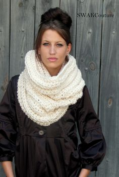 *NOT A PATTERN*| Chunky Hooded Cowl by SWAKCouture ||  No, this is NOT A PATTERN. I put this here as a reminder to make one! I love how it's big enough to go over my head! ♥A