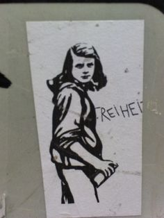 "Graffiti near Frankfurt, Germany of Sophie Scholl, a member of the White Rose Resistance to the Hitler regime, and whose members were charged with high treason and executed for distributing pamphlets which spoke out against the evils of the Third Reich. The writing says ""FREEDOM."" Source: tumblr"