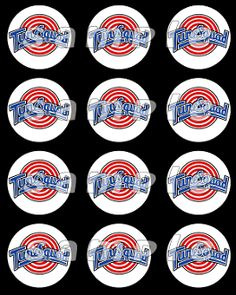 SPACE JAM 2.5 ROUND STICKERS, Space Jam Birthday Party Favor
