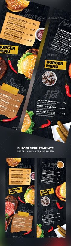 Buy Burger Menu by MaksN on GraphicRiver. File info: Flyer Name: Burger Menu Size: Letter with bleed Mode: CMYK Files included: 1 PSD Editable. Restaurant Menu Template, Burger Restaurant, Restaurant Menu Design, Food Menu Template, Menu Templates, Templates Free, Burger Menu, Bbq Burger, Food Menu Design