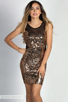 """Brynn"" Antique Rose Gold Sequin Mesh Cut Out Cocktail Dress"
