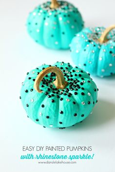 Turquoise DIY No Carve Mini Pumpkins with Black and White Rhinestone Sparkles // Colorful and modern Fall and Halloween decorating // Easy pumpkin decorating ideas for kids // Teal Halloween
