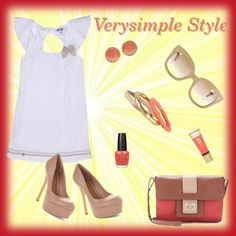 """Coral and Nude!"" by verysimple-style on Polyvore"