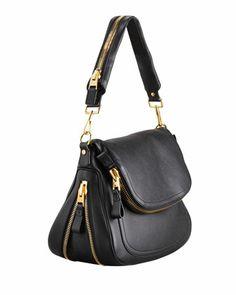 Tom Ford Jennifer Large Calfskin Shoulder Bag, Black