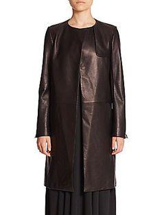 Helmut Lang Heavyweight Leather Coat - Black - Size