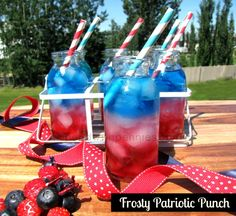 Frosty Patriotic Punch!  Red, White and blue layered drink!