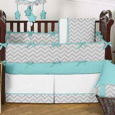 zigzag turquoise and gray 9 piece crib bedding set  $189.99   babybeddingzone.com