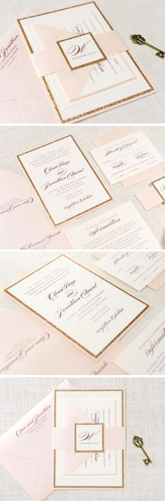 Blush Shimmer, Rose Gold Glitter, and Ivory Wedding Invitation and RSVP Card Suite     The Darling Suite