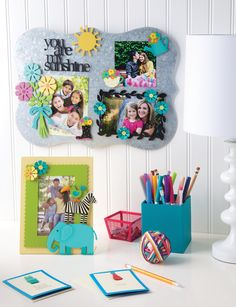 Create your own Memo Board with colorful magnets and favorite photos!  You Are My Sunshine and Daisy Magnets from Embellish Your Story by Roeda.