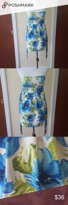 Alyn Paige Blue Floral White Dress In nice condition and made out of Shell: 97 %  Cotton and 3 % Spandex. Lining: 100 % Polyester.   Measurements   Chest- 14 1/2  Waist- 12 1/2  Length- 23 1/2   Bin 4 # 39 Alyn Paige Dresses Strapless