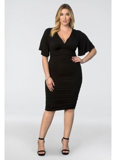 ed95d68d79842 Short Sheath Elbow Sleeves Cocktail and Party Dress - Kiyonna Event Dresses