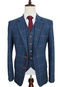 Retro Check Wool Blue Tweed 3 Piece Suit