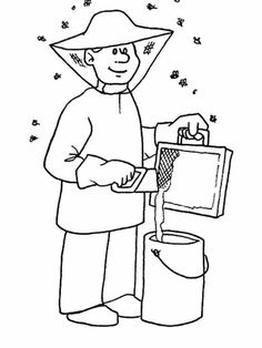Jobs Printable Coloring Pages 43 Bee Coloring Pages, Online Coloring Pages, Printable Coloring Pages, Adult Coloring, Coloring Books, Art Drawings For Kids, Art For Kids, Bee Cards, Insects