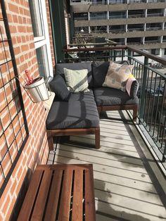 Now with furniture # apple apple - Balkon Terrasse - Balcony Furniture Design Small Balcony Design, Small Balcony Garden, Small Balcony Decor, Outdoor Balcony, Small Balconies, Balcony Decoration, Balcony Ideas, Apartment Balcony Decorating, Apartment Balconies