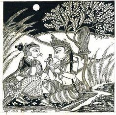 Buy online Art Print Paintings Wall Art - Six seasons - autumn bijay parida from Story Ltd Indian Traditional Paintings, Indian Art Paintings, Traditional Art, Madhubani Art, Madhubani Painting, Phad Painting, Kalamkari Painting, Mural Art, Murals