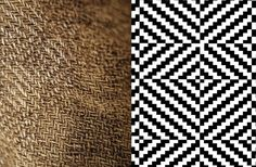 Iron Age fabric, woven in a weave called diamond twill that was popular over large parts of northern Europe at that time. The image shows a detail of the sleeve fabric (left) and the pattern of a section of the irregular diamond twill (right).