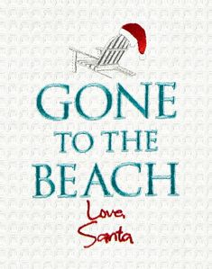 Gone to the Beach Santa Kitchen Towel $11.99 Featured on Beach Bliss Living: http://beachblissliving.com/beach-christmas-decorations/