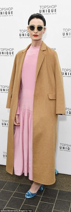 Erin O'Connor wearing Zanzan 'Sunetra' sunglasses Bright: Erin O'Connor also put in stylish appearance in a pale pink ankle-length dress and turquoise satin pumps