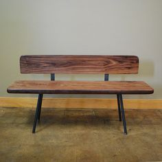 Bench in Steel and Walnut by deliafurniture on Etsy, $350.00 - cool bench!  Or maybe for Kitchen??