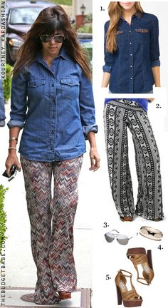 Kourtney Kardashian's denim shirt, palazzo pants and platform sandals