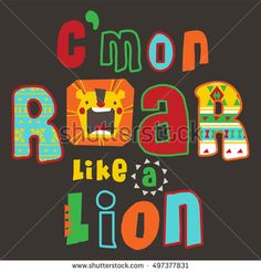 Typography design with Lion /T-shirt graphics / cute graphics for kids/Book lion / T-shirt graphics /  cartoon characters / cute graphics for kids / Book illustrations / textile graphic