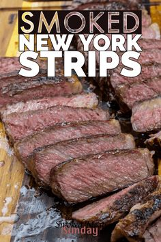 Looking for the best way to prepare smoked new york strip steak? Skip the steakhouse and get ready to make an amazing steak on your smoker. Traeger Recipes, Smoked Meat Recipes, Steak Recipes, Grilling Recipes, Smoked Beef, Rib Recipes, Sausage Recipes, Easy Recipes, Steaks