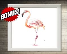 Flamingo Wall Art Decor Decor Room#art#print#pink#bedroom#decor#wall#gift#clipart#picture#watercolor#painting