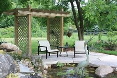 Pond and Sitting Area with Arbor: LADS-Landview Architectural Design Sequences Burlington, ON