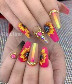 Fabulous Nails, Gorgeous Nails, Pretty Nails, Fall Nail Designs, Acrylic Nail Designs, Sunflower Nail Art, Glam Nails, Bling Nails, Aycrlic Nails