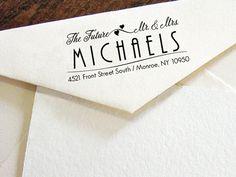 Return address stamp modern calligraphy by esprint on etsy