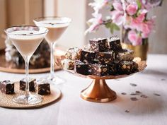 Salted chocolate Baileys truffle squares with gold edible glitter