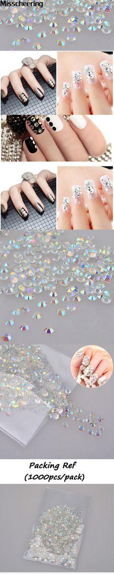 New 1000pcs/bag Glitters White AB 3d Nail Art Rhinestones Shiny Manicure Decor Crystal Studs Beauty Stickers on Nails DIY Tools