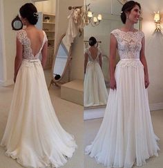 Ulass Lace Chiffon Backless A-line Wedding Dresses Capped Sleeves Sweep Train Summer Bridal Gowns