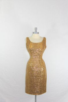 1960s Cocktail Party Dress  Shimmering  Gold Sequins Wiggle Frock 60s by VintageFrocksOfFancy
