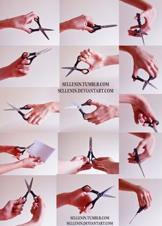Hands reference 5 - scissors by Sellenin - How to Art Hand Drawing Reference, Human Reference, Anatomy Reference, Art Poses, Drawing Poses, Drawing Tips, Drawing Hair, Gesture Drawing, Drawing Drawing