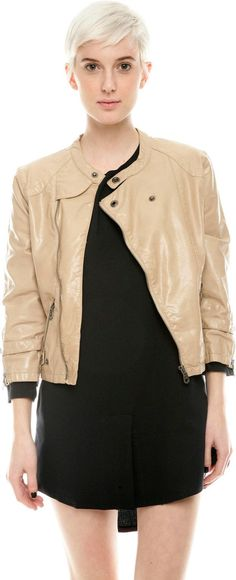 $68, Beige Leather Bomber Jacket: Members Only Vegan Leatherette Jacket. Sold by shoptiques.com. Click for more info: https://lookastic.com/women/shop_items/42235/redirect
