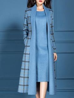 Type:Checkered/PlaidSleeve Type:Long SleeveSilhouette:ShiftThickness:Mid-weightMaterial:PolyesterNeckline:V neckOccasion:Office & vestidos Checkered/plaid V Neck Dress with Coat Work Two-piece Set Mode Outfits, Dress Outfits, Fashion Outfits, 2000s Fashion, Fashion Hacks, Fashion News, Fashion Trends, Abaya Fashion, Muslim Fashion