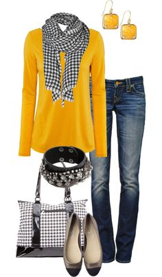 outfit with yellow sweater and earrings