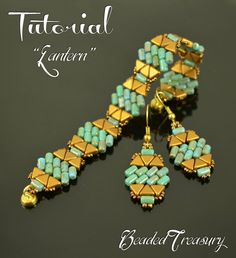 LANTERN Beading tutorial Beaded bracelet earrings pattern with