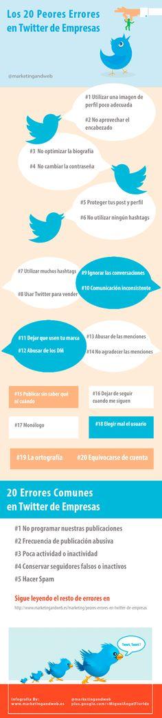 Los 20 Peores Errores en Twitter de Empresas #infografia #infographic #socialmedia