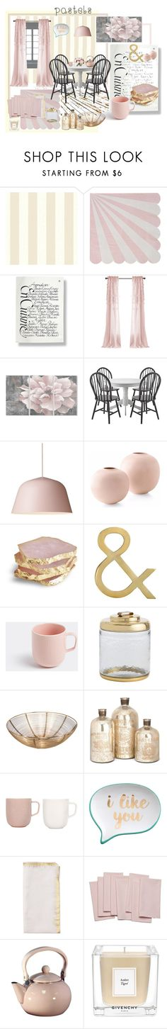 """pink and gold dining"" by jennross76 ❤ liked on Polyvore featuring interior, interiors, interior design, home, home decor, interior decorating, Meri Meri, Stupell, iittala and Arteriors"