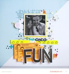 """Scrapbook page """"Fun"""" by Jamie Waters. Lots to like about this page."""