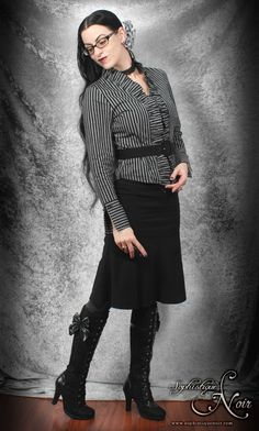 corporate gothic fashion | Corporate Goth Striped Ruffle Blouse