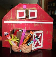 Farm Craft for Kids:  Cardboard Barn and Popsicle Stick Animals