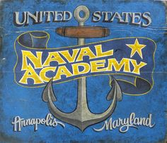 US Naval Academy PRINT. This is a print from an orginial handpainted and lettered sign. Several sizes available. Makes a great gift! by ZekesAntiqueSigns on Etsy Us Navy Academy, Academy Logo, Naval Academy, Painted Signs, Hand Painted, Go Navy, Antique Signs, Sign Printing, Hand Lettering