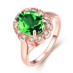 18-Karat Rose Gold Emerald Green Stone Ring Swarovski Elements