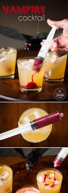 Vampire Cocktail is the perfect spooky Halloween drink. Syringes filled with swe. Vampire Cocktail is the perfect spooky Halloween drink. Syringes filled with sweetened raspberry puree look gory, but taste amazing! Halloween Party Drinks, Soirée Halloween, Halloween Dinner, Halloween Vampire, Halloween Treats, Halloween Recipe, Halloween Food For Adults, Haloween Drinks, Halloween Alcoholic Drinks